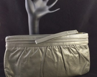 Vintage grey leather zipper clutch with strap