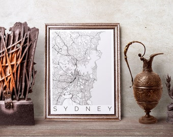 Map of Sydney, Australia - Map ART - Sydney Poster  - Office Decor - Sydney Travel Poster - City of Sydney - Travel Decor - Australia Print