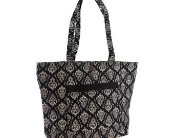 Della Q Willa Bag 118-2 DellaQ Willa Shoulder Bag Della Q Knitting Bag, Willa Bag Columbia Cotton Limited Edition Print, Black & White Bag