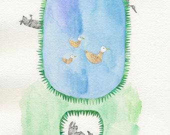 Hibernating, it's almost Spring - Original framed art work / illustration about animals anticipating Spring by Nana Sakata
