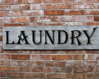 """Solid Wood Laundry Sign, Primitive Laundry Sign, Laundry, Mud Room Sign, Mud Room Decor, Primitive Sig, 11.25"""" X 48"""""""