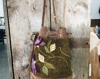 Leather Suede Bag, Brown Bucket Bag, Green Bucket Bag, Leather Purse, Wool Handbag, Hand Embroidery, Olive Green Bag, Nyboer's, great gift
