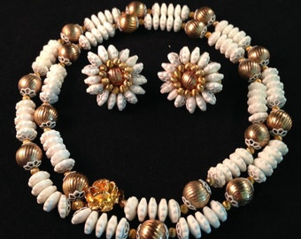Pretty Detailed Floral Demi Parure by Hobé - Necklace & Earrings Set of White and Gold 749