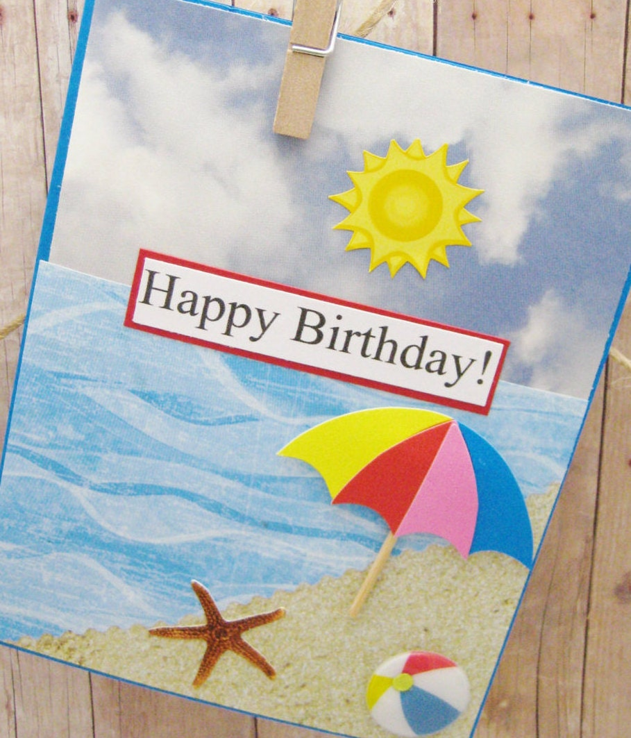Beach Birthday Card-Ocean Themed Card-Sandy Beach