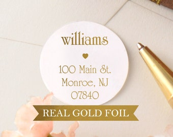 Custom Return Address Labels - Address Label - Personalized Address Labels - Wedding Stickers -Address Envelope Seals -Round Gold Stickers