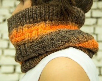 orange scarf, gradient yarn snood, small gift, orange cowl, winter accessory, women's neckwarmer, wool knit
