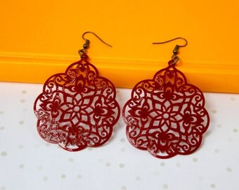 Handpainted - Rust Red - Large Lace Filigree Earrings - Boho Earrings - Big Earrings - Lace Earrings - Bohemian Style