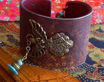 Antique Brass with Turquoise Angel Cuff