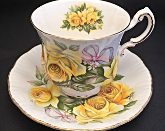 Royal Crest Yellow Rose Tea Cup,  Fine Bone China England, Shower Gift, Gift for Mom