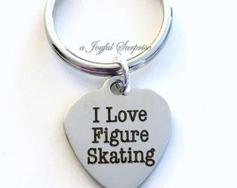 I love Figure Skating Key Chain Figure Skate Keyring Skater's Key Chain Gift Mom Birthstone birthday present Christmas For Man Men Boy Male