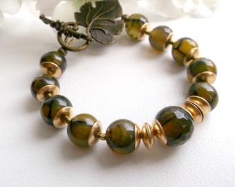 Agate bracelet, vein agate and gold bracelet, moss green bracelet, gemstone bracelet, women gift, sister gift, mother gift, summer bracelet