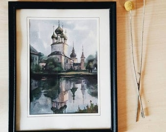 Watercolor architecture, mosque - original painting. Black frame, gorgeous detail with lots of blues, pinks and greens.