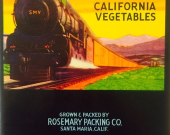 Vegetable Crate Label with Steam Engine Train for Santa Maria Brand Vegetables circa 1930's