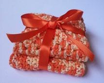 Handmade Crocheted Wash Cloths Set of 2 Cotton Wash Cloths in Orange Bathroom Accessories