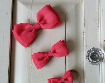 Coral Chiffon Bow