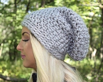 Slouchy Hat, Grey Slouchy Beanie, Grey Hat, Grey Beanie, Grey Winter Hat, Grey Crochet Hat, Chunky Knit Hat, Slouch Hat, THE HUTCHINSON