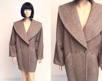 Vtg Daniel Hechter Wool Minimalist Oversized Brown Coat
