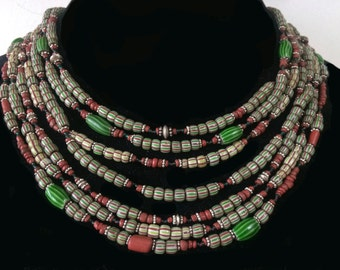 Necklace of Venetian trade beads, Indo-Pacific beads and sterling Bali silver