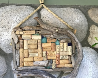 Rustic Wine Cork Message Board Beach Inspired, Thumbtack Note Bulletin Board, Handmade Cork Memo Board, Notes, Item 384640176