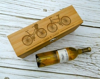 Bike design Wine Box with Wine Tools, Silk Lined, Bamboo, Wine Gift, Custom Wine Box, Personalized Wine Box, Biker Gift, Wedding Wine Box