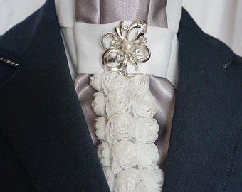 Romantic Roses Show White Stock Tie by Equestrian Lounge