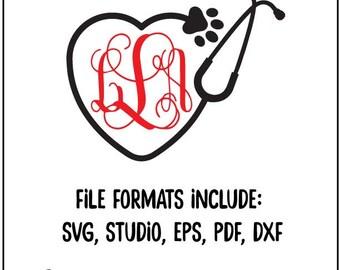 Vet Monogram, stethoscope monogram, stethoscope sg, stethoscope heart, monogram svg, svg files, files for cricut, svg monogram, svg bundle