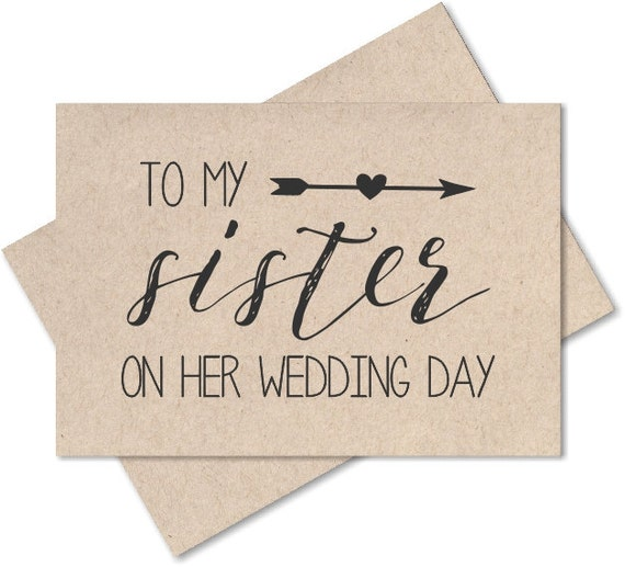 To my sister on her wedding day, card for sister wedding gift, sister ...