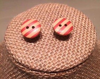 Red Striped Button Earrings