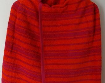 Hooded Bath Towel, Orange with Stripes