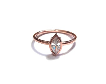 14K Gold Diamond Ring-Diamond Marquise Ring-Rose Gold Ring-14K Gold Marquise Ring
