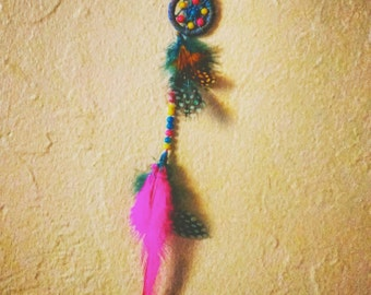 """Mini 1"""" Dreamcatcher~lots of detail, beads, feathers"""