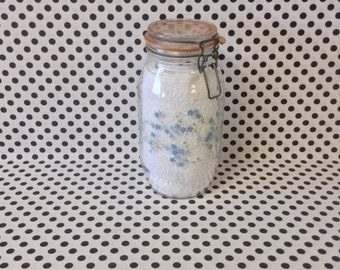 Bitty Blue Blooms~Arc 2L~Glass Canister~Storage Jar~Wire Clasp~Blue Flowers