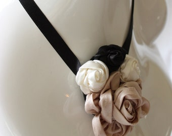 Silk rose, white, black, and beige ribbon necklace