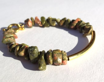 Gemstone Chip Bead Bracelet Unakite