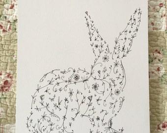 Rabbit Doodle Print