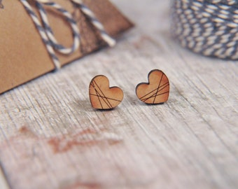 Pattern Love Heart Wooden Lasercut Stud Earrings