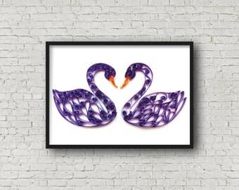 Swan Print, Swan Art, Purple Decor, Swans Poster, Housewarming Gift, Anniversary Gift, Gift For Her, Girlfriend Gift, Friend Gift, Art Print