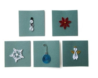 Christmas Card Set, Pack of 5 Mini Cards,Holiday Card Set, Mini Christmas Cards, Greeting Card, Paper Quilled Cards,  Set of five Xmas Cards