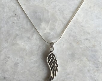 """Silver Angel wing charm, silver angel wing necklace, silver necklace, wing necklace, wing charm, silver wing necklace, 16"""" chain (CH01)"""