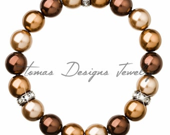 Pearl Bracelet Crystal Pearl with Swarovski Elements Crystals and Crystal Pearls - Brown