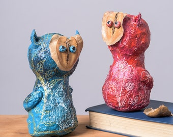 Paper Mache Owl Statuette with Jacaranda Fruit, Blue Home Decor, Owl Ornament Gift, Paper Art, Paper Sculpture, Blue Owl, Collectible art