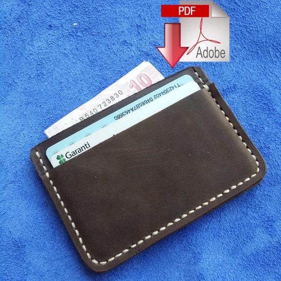 Leather Card Holder 3-pocket Digital PDF Template .A