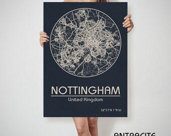 NOTTINGHAM UK United Kingdom England Nottingham art, Nottingham print, Nottingham, Nottingham map, Nottingham England, Nottingham wall art