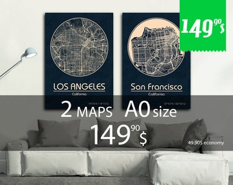 SALE! Set of 2 maps A0 size + discount. Great deal - 49.90 dollars saving - set of 2 map print with discount!