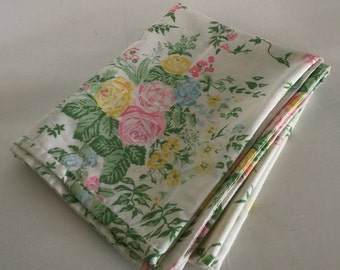 Pretty floral pillowcase in pink, blue, and yellow! Free shipping!
