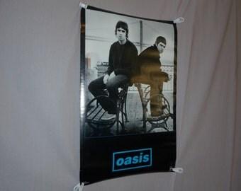 "1996 Oasis Poster - Noel & Liam Gallagher - Original Vintage 1990s Britpop Rock Music Poster - 22"" x 34"""