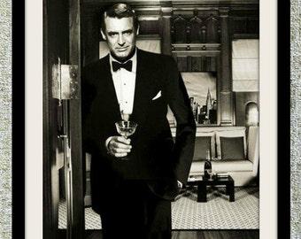 Cary Grant photograph, vintage photo print, classic Hollywood photograph, black and white print, boho wall decor