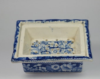 Georgian Blue and White Transferware Soap Dish Pearlware Circa 1820