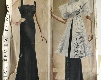 1930s Evening Gown & Tunic Coat Pattern B36 Original