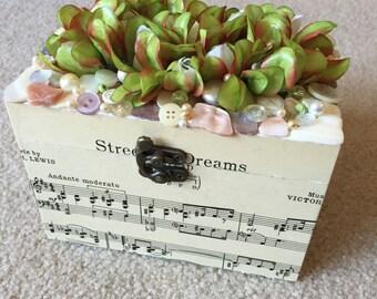 Floral and Sheet Music Keepsake Box